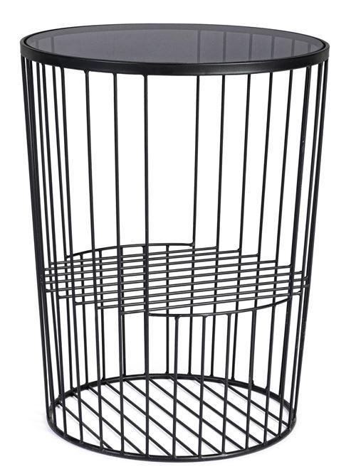 Table d'appoint en acier et verre trempé coloris noir - Ø.40 x H.52 cm -PEGANE-