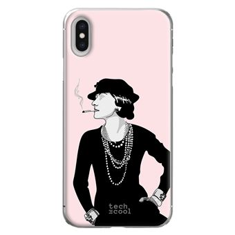 Coque pour Iphone XS Max TPU Silicone Coco Chanel fond rose