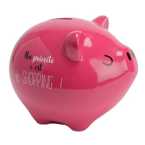 Grande Tirelire cochon rose - Ma priorité c'est le Shopping !