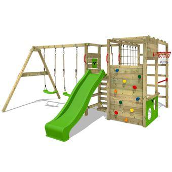 fatmoose aire de jeux actionarena air xxl portique en bois tour d escalade avec balan oire et. Black Bedroom Furniture Sets. Home Design Ideas