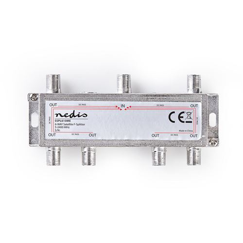 Répartiteur Satellite F   Gain Max. 17 dB   5 - 2 400 MHz   6 Sorties