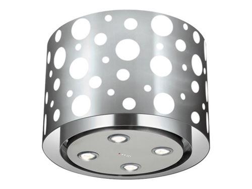 Airlux AHL55IX - Hotte - hotte îlot - largeur : 51.5 cm - profondeur : 51.5 cm - extraction et recirculation (avec kit d'extraction supplémentaire) - inox/verre blanc