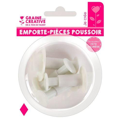 4 emporte-pièces à poussoir en plastique - Losange - Graine Créative