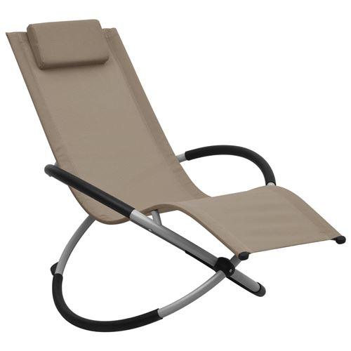 vidaXL Chaise longue pour enfants Acier Taupe