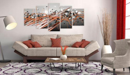 200x100 Tableau Modernes Abstraction Chic Orange Stream