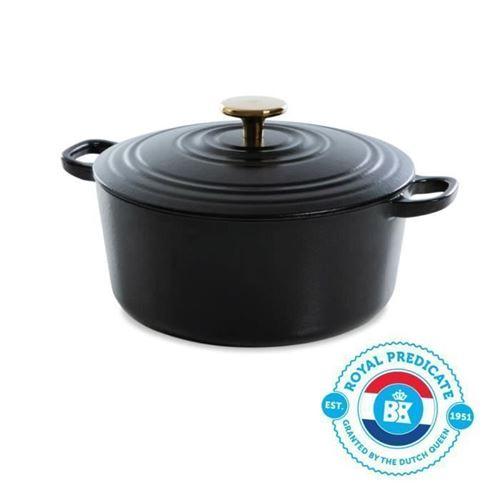 BK Cookware H6079.528 BK Bourgogne Cocotte en Fonte - Ronde - 28 cm - 6.7L - Revetement emaille - Couvercle avec Anneaux