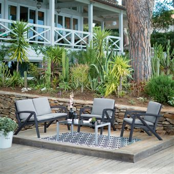 Salon bas de jardin 4 personnes résine/alu: canapé 2 places + 2 fauteuils +  table basse LOUNGE gris