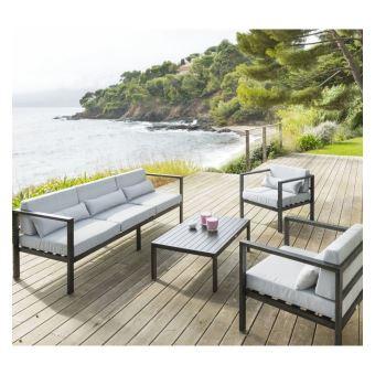 Salon de jardin noir Figari 5 places Hespéride - Mobilier de ...