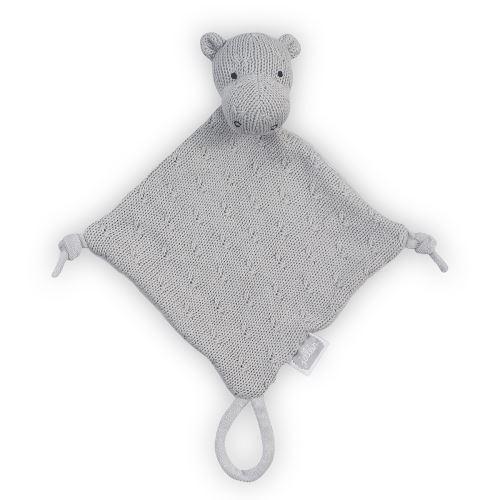 Doudou pour bébé avec attache sucette Soft Knit Hippo - Gris