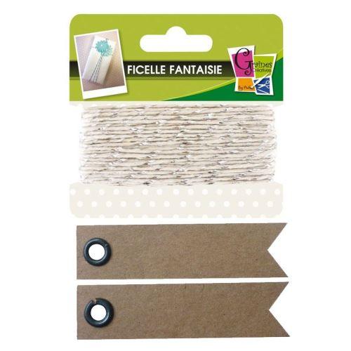 Ficelle blanche-argentée 10 m + 20 étiquettes kraft Fanion - Graine Créative