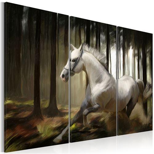 Tableau - cheval blanc parmis les arbres - artgeist - 120x80