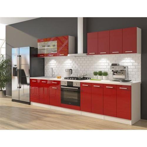 ULTRA Cuisine complete avec meuble four et plan de travail inclus L 300 cm - Rouge brillant