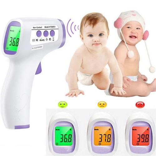 Thermomètre frontal infrarouge sans contact rétroéclairage tricolore de haute précision blanc