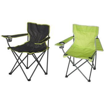Lot De 2 Fauteuils De Camping Pliant Coloris Vert Anis ...
