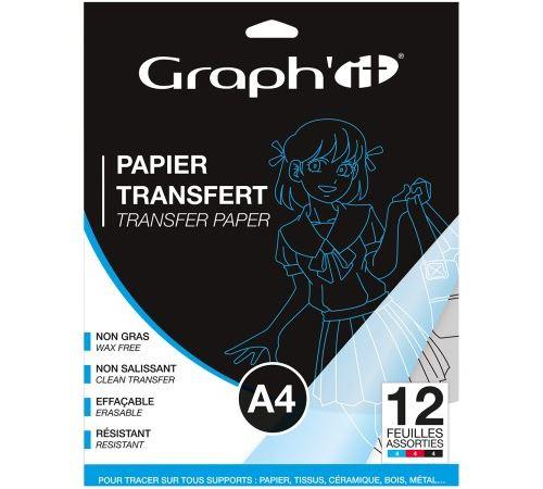 Papier transfert Graph'it - Noir, Rouge et Bleu - A4 - 12 feuilles