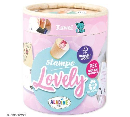 Kit de tampons bois Stampo Lovely - Kawai - 15 pcs