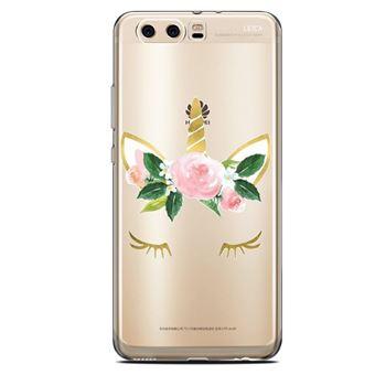 Coque Huawei Y5 2018 Licorne eyes liberty fleur rose dore unicorn