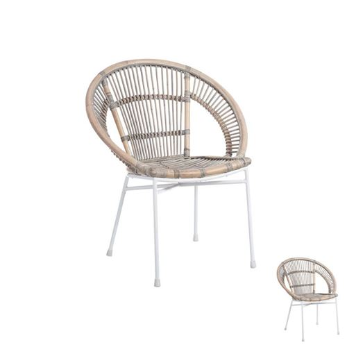 Duo de chaises Métal/Rotin - TANAR
