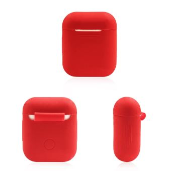 Coque Silicone pour AirPods APPLE Boitier de Charge Grip Housse Protection (ROUGE)
