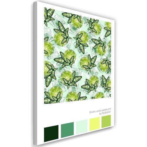 Feeby Impression sur toile Tableau Image moderne, Citron vert et menthe 70x100 cm