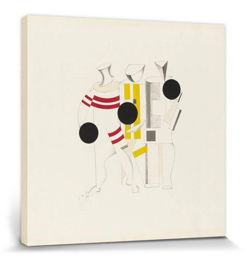 El Lissitzky Poster Reproduction Sur Toile, Tendue Sur Châssis - Victoire Sur Le Soleil, Athlètes, 1923 (70x70 Cm)