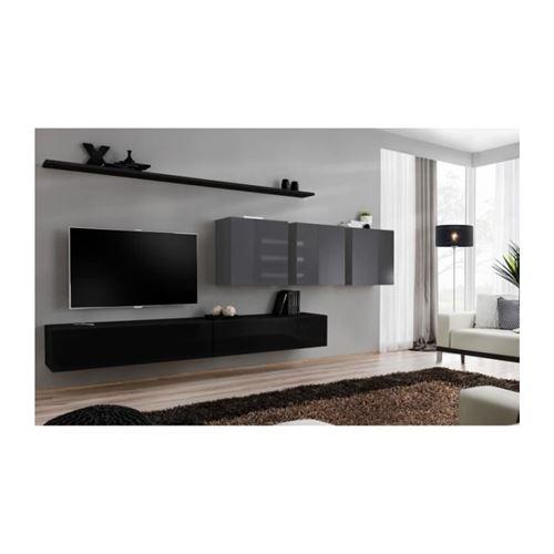 Ensemble meuble salon SWITCH VII design, coloris noir et gris brillant.
