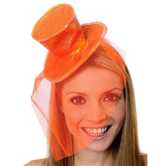 Promotion de ventes 2019 meilleurs sortie en vente Mini chapeau haut de forme burlesque orange pour femme scintillant avec un  voile fascinateur.