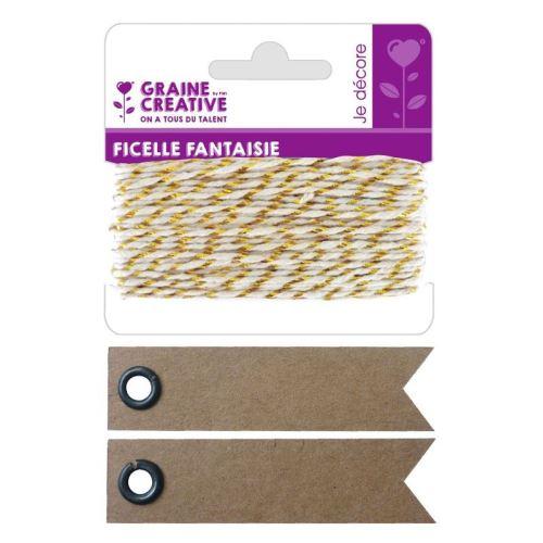 Ficelle blanche-dorée 10 m + 20 étiquettes kraft Fanion - Graine Créative