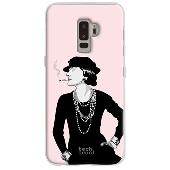 coque pour Samsung Galaxy S9 TPU Silicone Coco Chanel fond rose