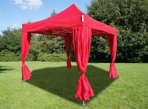 Tente pliante Chapiteau pliable Tonnelle pliante Barnum pliant FleXtents PRO 3x3m Rouge, incl. 4 rideaux decoratifs