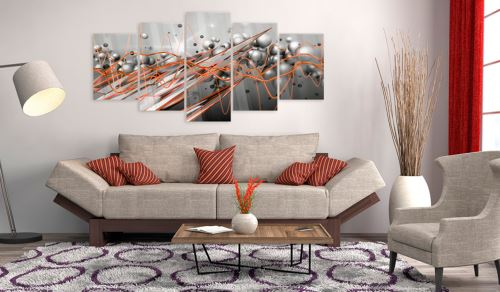 100x50 Tableau sur verre acrylique Admirable Orange Stream