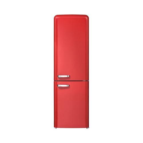 CHiQ Réfrigérateur congélateur bas Vintage, FBM250NE2R1 250L (180 + 70) Froid ventilé, No Frost, rouge, portes réversibles, A++, 42 db