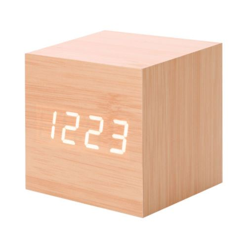 Nouveau Led Numérique en Bois Moderne en Bois Bureau Réveil Thermomètre Calendrier Minuterie Orange PL206