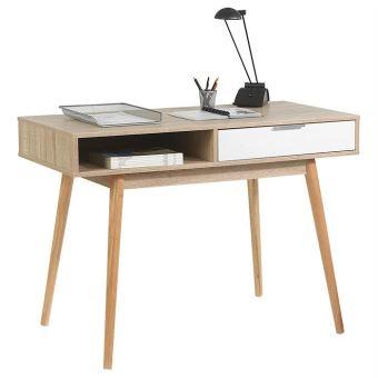 Console meuble d appoint tiroir MDF décor chªne sonoma et blanc