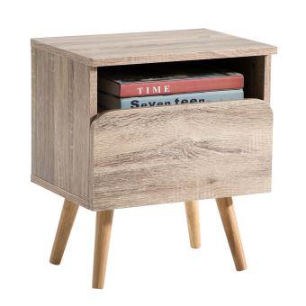 Table De Chevet Giorgia Table De Nuit Casier Avec 1 Niche Et 1 Tiroir Style Scandinave Avec Pieds Coniques Décor Chêne Sonoma