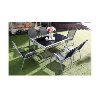 Le Grenadin Salon De Jardin Table Et 6 Chaises En Aluminium