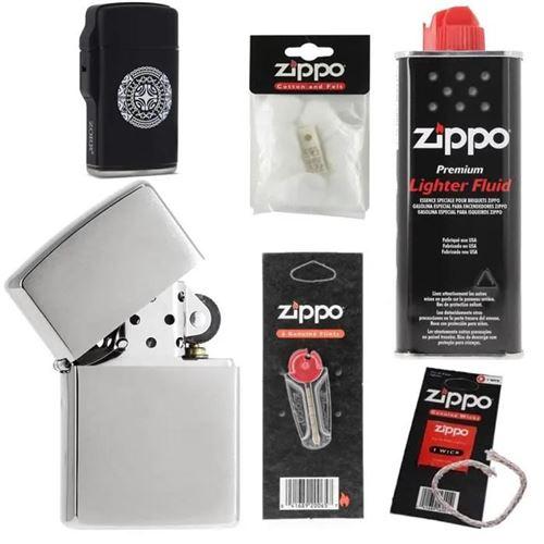 Pack complet Briquet Zippo Brushed avec mèche essence coton et pierres