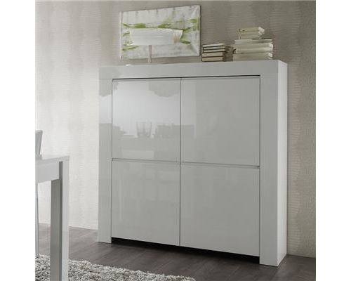 Buffet haut blanc laqué design TRIPOLI - L 120 x P 50 x H 140 cm