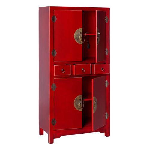 Armoire 4 portes, 3 tiroirs Rouge Meuble Chinois - PEKIN