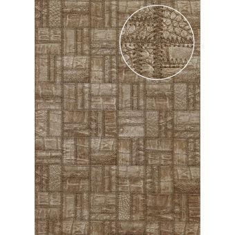 papier peint gaufr atlas sti 1015 4 papier peint intiss gaufr d 39 aspect de cuir satin brun. Black Bedroom Furniture Sets. Home Design Ideas