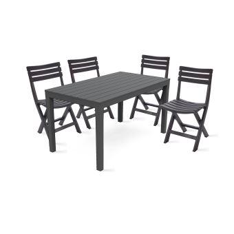 Table de jardin et 4 chaises pliantes en plastique - Gris ...
