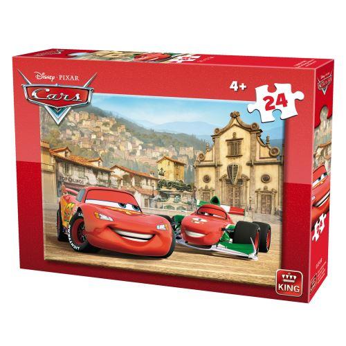 Puzzle 24 pièces : cars : flash mcqueen et francesco bernoulli king puzzles