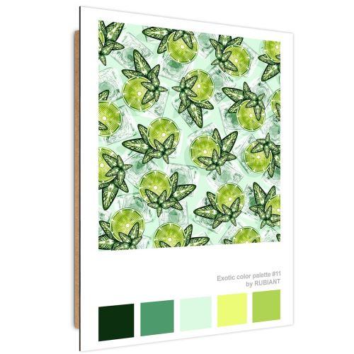 Feeby Panneau décoratif Impression moderne Tableau, Citron vert et menthe 50x70 cm