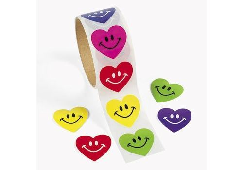 Fun Express 100 autocollants Smile Heart Roll, 1 rouleau