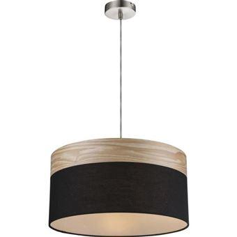 Luminaire Lighting Tissu Bois Marron Globo Mat Suspension Noir P8nOX0wkNZ
