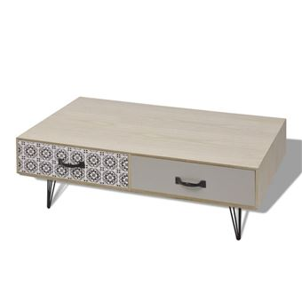 Table Basse Design Scandinavee En Mdf Avec Tiroirs Meuble Banc Tv