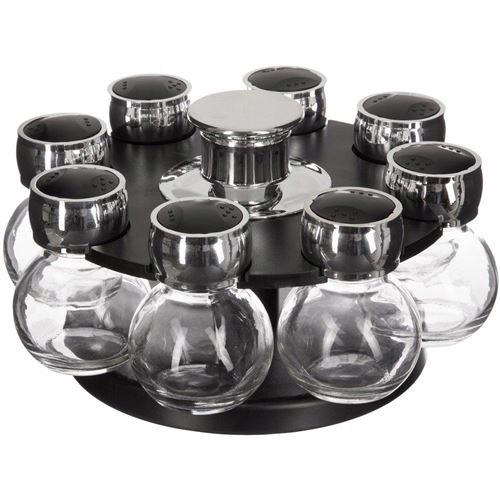 8 pots à épices avec présentoir rotatif - D 21 cm x H 12,4 cm - Noir