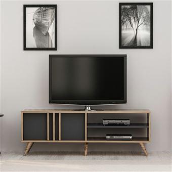 166 10 Sur Meuble Tv Design Bois Bren L 150 X H 48 Cm Gris Anthracite Achat Prix Fnac