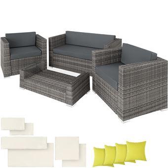 TECTAKE Salon de jardin MUNICH 2 Fauteuils 1 Canapé 1 Table en Résine  Tressée structure Aluminium Gris