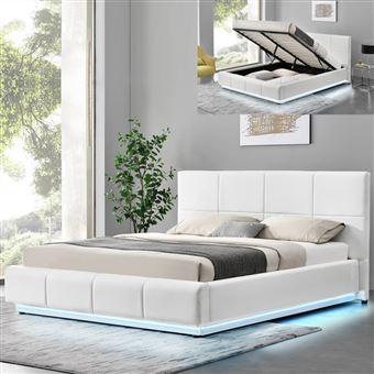Lit Design Alexi Avec Sommier Et Coffre De Rangement Blanc